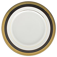 10 Strawberry Street SAH-4BK Sahara 8 inch Black and Gold Porcelain Salad / Dessert Plate - 24/Case