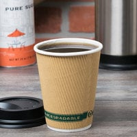 EcoChoice 12 oz. Double Wall Kraft Compostable Paper Hot Cup - 25/Pack