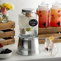 Acopa 2 Gallon Mason Jar Glass Beverage Dispenser with Infusion Chamber, Chalkboard Sign, and Metal Stand
