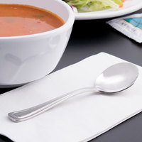 World Tableware 101 016 Classic Rim II 5 3/4 inch 18/8 Stainless Steel Extra Heavy Weight Bouillon Spoon - 36/Case
