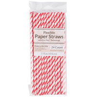 Creative Converting 051151 7 3/4 inch Jumbo Classic Red / White Stripe Paper Straw - 144/Case