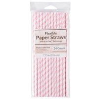 Creative Converting 091042 7 3/4 inch Jumbo Classic Pink / White Stripe Paper Straw - 144/Case
