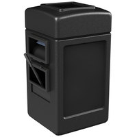Commercial Zone 755101 28 Gallon Islander Series Black Harbor Square 1 Waste Container with Towel Dispenser, Squeegee, and Windshield Wash Station