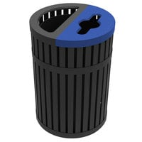 Commercial Zone 728501 ArchTec Parkview Black Steel Round Dual Trash and Recycling Bin - 45 Gallon
