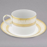 10 Strawberry Street IRIANA-9GLD Iriana 8 oz. Gold Porcelain Can Cup with Saucer - 24/Case