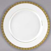 10 Strawberry Street ATH-4G Athens 8 inch Gold Porcelain Salad / Dessert Plate - 24/Case