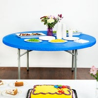 Creative Converting 37242 Stay Put Royal Blue 60 inch Round Plastic Tablecloth with Elastic - 12/Case