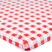 Creative Converting 37488 Stay Put Red Gingham 29 inch x 72 inch Rectangular Plastic Tablecloth with Elastic - 12/Case