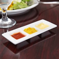 World Tableware BW-6719 Chef's Selection II 6 1/2 inch x 2 1/2 inch Ultra Bright White Porcelain 3-Well Micro Tray - 24/Case