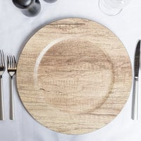 The Jay Companies 1270279 13 inch Round Poplar Faux Wood Melamine Charger Plate