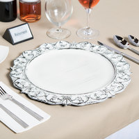 The Jay Companies 1270282 14 inch Round White Embossed Antique Melamine Charger Plate