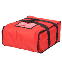 ServIt Insulated Pizza Delivery Bag, Red Soft-Sided Heavy-Duty Nylon, 16 inch x 16 inch x 8 inch - Holds Up To (3) 12 inch or 14 inch Pizza Boxes