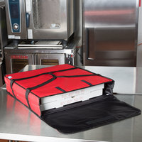 Choice Insulated Pizza Delivery Bag, Red Nylon, 24 inch x 24 inch x 5 inch - Holds Up To (2) 20 inch or 22 inch Pizza Boxes or (1) 24 inch Pizza Box