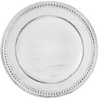 The Jay Companies 1270281 14 inch Round White Beaded Antique Melamine Charger Plate