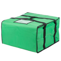 Choice Insulated Pizza Delivery Bag, Green Nylon, 20 inch x 20 inch x 12 inch - Holds Up To (6) 16 inch, (5) 18 inch, or (4) 20 inch Pizza Boxes