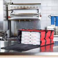 Choice Insulated Pizza Delivery Bag, Red Nylon, 16 inch x 16 inch x 8 inch - Holds Up To (4) 12 inch or 14 inch Pizza Boxes
