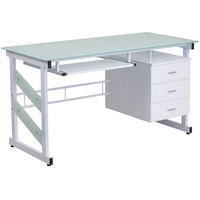 "Flash Furniture NAN-WK-017-GG White Tempered Glass Desk with 3 Drawer Pedestal and Keyboard Tray - 55"" x 33"" x 30"""