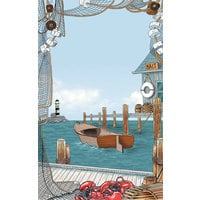 8 1/2 inch x 11 inch Menu Paper - Seafood Themed Port Design Cover - 100/Pack