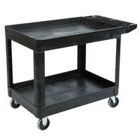 Rubbermaid FG452089BLA Black Medium Lipped Two Shelf Utility Cart with Extended Handle