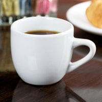 Acopa 3.5 oz. Rolled Edge Bright White Stoneware Espresso Cup - 36/Case
