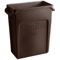 Rubbermaid 1956181 Slim Jim 64 Qt. / 16 Gallon Brown Rectangular Trash Can