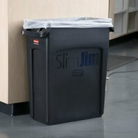 Rubbermaid 1955959 Slim Jim 64 Qt. / 16 Gallon Black Rectangular Trash Can