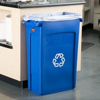 Rubbermaid FG354007BLUE Slim Jim 23 Gallon Blue Rectangular Recycling Bin
