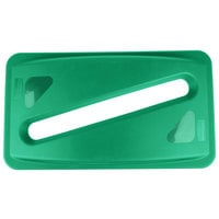 Rubbermaid FG270388GRN Slim Jim Green Rectangular Recycling Container Lid with Paper Slot