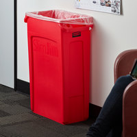 Rubbermaid 1956189 Slim Jim 92 Qt. / 23 Gallon Red Rectangular Trash Can