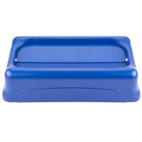Rubbermaid FG267360BLUE Slim Jim Blue Drop Shot Rectangular Trash Can Lid
