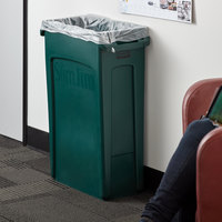 Rubbermaid 1956186 Slim Jim 92 Qt. / 23 Gallon Green Rectangular Trash Can