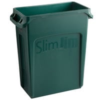 Rubbermaid 1955960 Slim Jim 64 Qt. / 16 Gallon Green Rectangular Trash Can