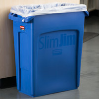 Rubbermaid 1971257 Slim Jim 64 Qt. / 16 Gallon Blue Rectangular Trash Can