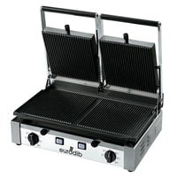 Eurodib PDR3000 Double Panini Grill with Grooved Plates - 20 inch x 10 inch Cooking Surface - 220V, 3000W