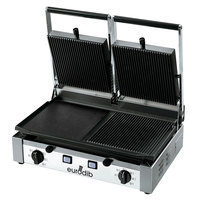 Eurodib PDM3000 Double Panini Grill with Grooved Top and Smooth Left Bottom - 20 inch x 10 inch Cooking Surface - 220V, 3000W