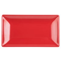 Elite Global Solutions JW952T 9 inch x 5 inch Karma Black and Red Rectangular Two-Tone Melamine Plate - 6/Case