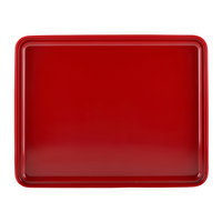 Elite Global Solutions JWL11852T Karma 11 1/4 inch x 8 3/4 inch Black and Red Two-Tone Melamine Bento Box Lid