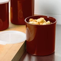 Cambro CP12195 1.2 Qt. Reddish Brown Round Crock with Lid