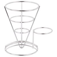 Clipper Mill by GET 4-88864 5 inch x 7 inch Stainless Steel Wire Cone Basket with Ramekin Holder