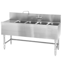 Eagle Group B6L-4-24 Spec-Bar 72 inch x 24 inch 20 Gauge Four Bowl Stainless Steel Underbar Sink with 24 inch Left Drainboard