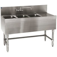 Eagle Group B5.5-3-R-19 Spec-Bar 66 inch x 19 inch 20 Gauge Three Bowl Stainless Steel Underbar Sink with 30 inch Right Drainboard