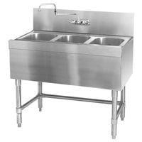 Eagle Group B3-3-24 Spec-Bar 36 inch x 24 inch 20 Gauge Three Bowl Stainless Steel Underbar Sink