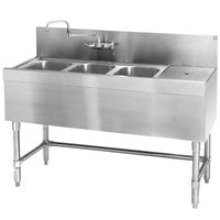 Eagle Group B5-3-R-19 Spec-Bar 60 inch x 19 inch 20 Gauge Three Bowl Stainless Steel Underbar Sink with 24 inch Right Drainboard