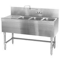Eagle Group B5.5-3-L-19 Spec-Bar 66 inch x 19 inch 20 Gauge Three Bowl Stainless Steel Underbar Sink with 30 inch Left Drainboard