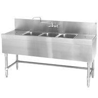Eagle Group B5-3-LR-24 Spec-Bar 60 inch x 24 inch 20 Gauge Three Bowl Stainless Steel Underbar Sink with (2) 12 inch Drainboards