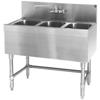 Eagle Group B3-3-19 Spec-Bar 36 inch x 19 inch 20 Gauge Three Bowl Stainless Steel Underbar Sink