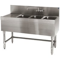 Eagle Group B4-3-L-19 Spec-Bar 48 inch x 19 inch 20 Gauge Three Bowl Stainless Steel Underbar Sink with 12 inch Left Drainboard