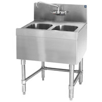 Eagle Group B2-2-24 Spec-Bar 24 inch x 24 inch 20 Gauge Two Bowl Stainless Steel Underbar Sink