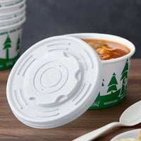 EcoChoice 12-32 oz. Translucent Compostable Soup / Hot Food Cup Vented Lid - 500/Case