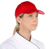 Choice Red 6-Panel Chef Cap